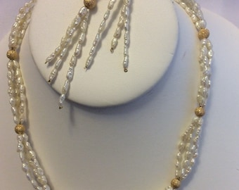 "Rice pearl with gold filled ""Stardust"" bead necklace & earrings set - Sale"