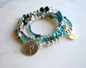 Turquoise wrap bracelet / necklace-  ladies jewellery /  jewellery - turquoise silver and black