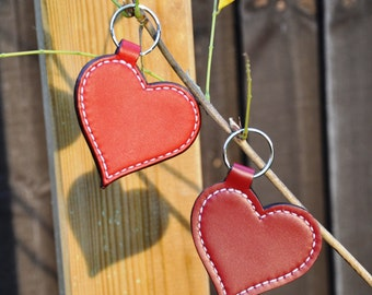Genuine leather heart keyring