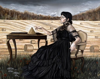 Super Limited Surreal Victorian Girl with Pyramid Hay Field Harvest Art Print