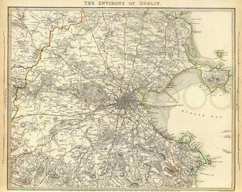Dublin 1837. Antique Map of Dublin, Ireland. Published by SDUK - MAP PRINT