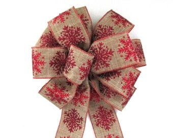 Christmas Bow, Tree Topper Bow, Wreath Bow, Burlap Bow, Snowflake Bow