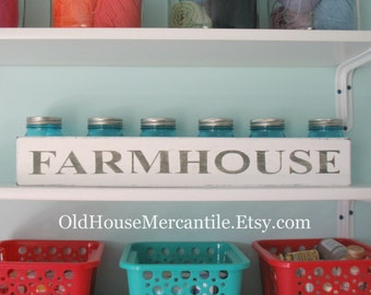 Farmhouse - Painted Wooden Sign - Door Topper - Shelf Sitter - Fixer Upper - Antique Style - Vintage Style - Kids Room - Mud Room - Kitchen