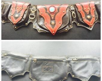 """Black and red leather """"holly"""" style utility belt/ pocket belt/ festival belt"""