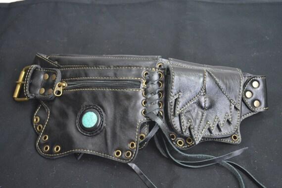 black leather leaf pocket belt utility belt belt bag with