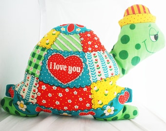"Pillow- Turtle ""I Love You"" patchwork 1960's-1970's animal kitschy throw  pillow"