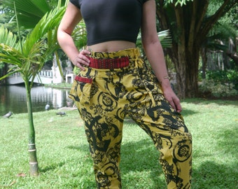 Beautiful Capri Pants, Batik Cotton, Hmong Hill Tribe Style, Black and Yellow -Paisley Print and black Details - One Size Fits All