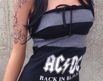 ACDC Striped Mini Dress Rock n Roll