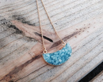 Aqua Marine Druzy Half Moon Druzy Necklace