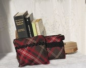 Zip Top Pouches Make up pouches  Set of 2 Plaid Zip Bags Upcycled by Bag Again with Black trim