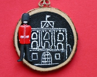 London castle, holiday, ornament, birch wood slice, at of wood, Queen's castle, guard, black and white, chalkboard paint, whimsical