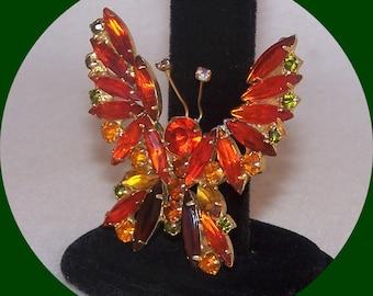 Vintage, Orange Navette Rhinestone Butterfly Brooch.