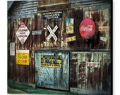 Rustic Weathered Barn with Vintage Metal Advertising Signs  North Carolina Country Farmhouse Decor Photography on Giclee Gallery Wrap Canvas