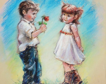 "kids wall art,  couple sweethearts, boy and girl, ""LOVE YOU"" Laurie Shanholtzer, Canvas or art paper"