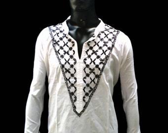 Mens kurta shirt viking tunic lounge wear for men hippie clothes ethnic shirt white dress cotton gifts for men bohemian shirt salwar kameez