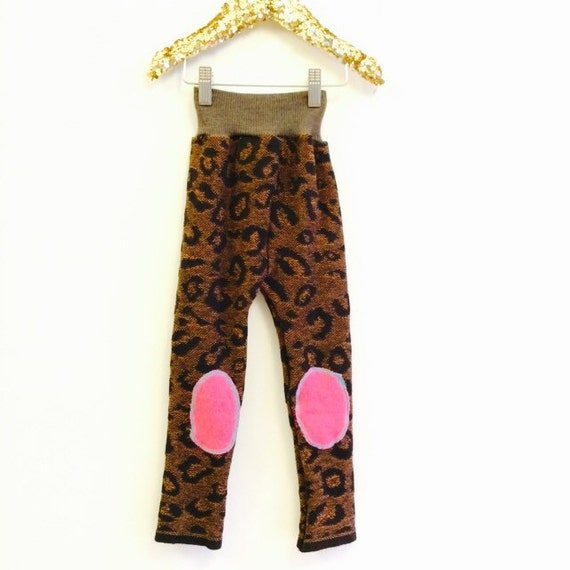 FALL 4-5 Year Kids Acrylic Leggings Toddler Trousers Pants in Upcycled Acrylic Pattern Unisex