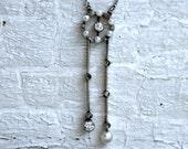 Vintage Art Nouveau Platinum Diamond and Pearl Necklace.