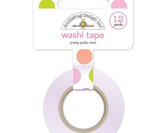 Pretty Polka Dots Washi Tape, 15mm x 12 yards by Doodlebug Designs - Colorful Polka Dots