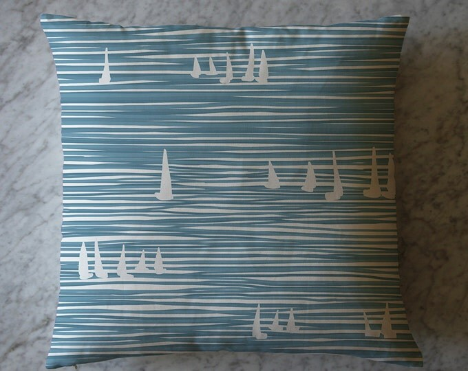 Pillow with Stripes and Sailboats. March 24, 2014