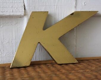brass K, the letter K, brass letter K, vintage brass K, K paperweight, brass paperweight