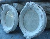 Shabby White Frames - Painted Frames - Carved Rose Frames - Vintage Frames - Ornate Oval Frames - Victorian Frames