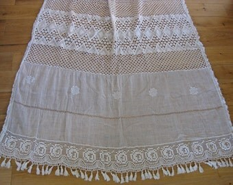 Long French lace curtain panel with tassel fringes - vintage drape