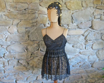 Black lace shortie stripper baby doll dress French female impersonators stage outfit