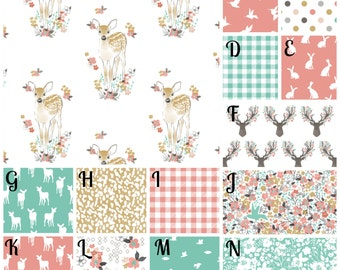 Crib Bedding Deer Antlers Fawn Girl Floral Woodland Custom Made Fabrics 3 tiered ruffled crib skirt