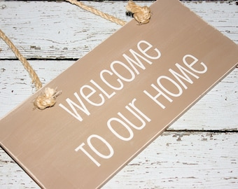 """Custom Wood Sign, """"Welcome to our Home"""""""