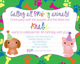 Dog and Cat Birthday Party Invitation