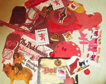 Red Mixed Media Altered Art Inspiration Kit - 35 pcs - Found Objects - Vintage & Vintage Inspired