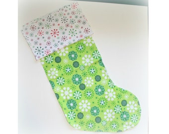 Christmas Stocking - Personalized Stocking - Fully Lined Cotton Stocking - Green and White Snowflakes