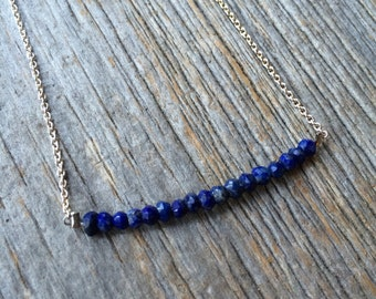faceted cobalt blue LAPIZ LAZULI sterling silver layering necklace