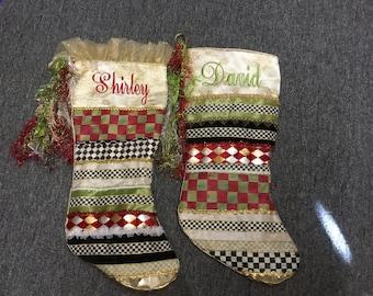 Custom Handmade Christmas Stocking. Mckenzie Child's ribbons
