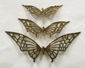Set of 3 Midcentury Brass Butterfly Wall Hangings, Brass Butterflies