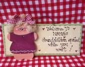 WELCOME TO NANA's Grandchildren spoiled  wood sign grandparent Grandma cute wood crafts wooden doll
