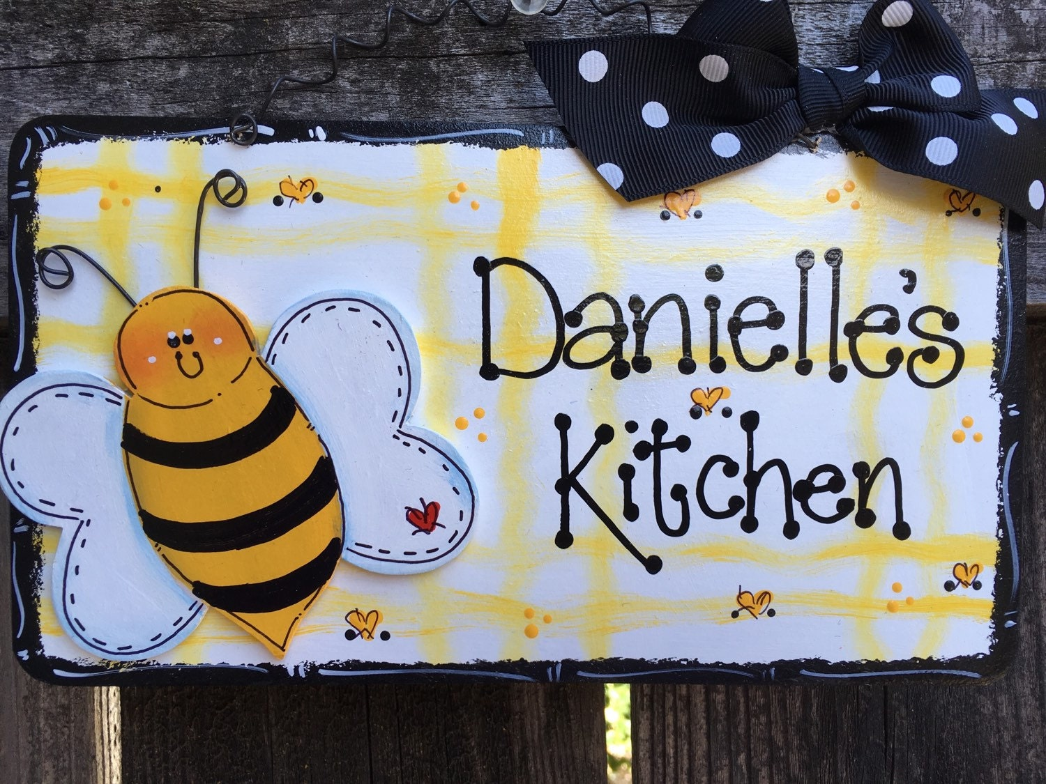 Bumble bee personalized sign kitchen home decor for Bumble bee mural