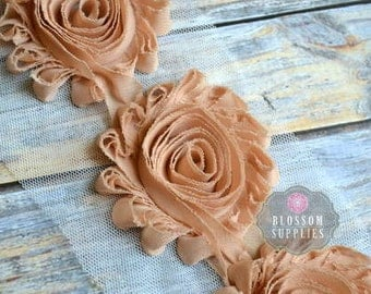 1/2 or 1 YARD Increment - TAN - Chiffon Shabby Rose Trim - Frayed Flowers - Headband Flowers - Beige Brown Roses - Blossom Supplies Crafts