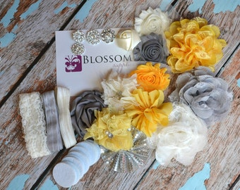 DIY Headband Making Kit - Yellow/Gray Collection - Chiffon Frayed Flowers - Shabby Rose Trim - Baby Flower Headbands - Glitter Bows Feather