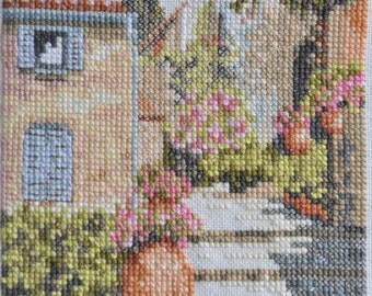 Finished / Completed Cross Stitch - Lanarte Sunrise Alley ( 34814 ) crossstitch counted cross stitch