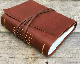 "Leather journal, ""Let me live, love, and say it well in good sentences"", Sylvia Plath quote, writing journal by moon and hare"