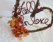 Rustic Fall In Love Cake Topper, Autumn Wedding Decor