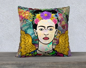 Large Funky Frida Kahlo with Golden Wings and Angels Velveteen Pillow Cushion Cover, Sofa Cushion, Funky Cushion,Art Pillow,