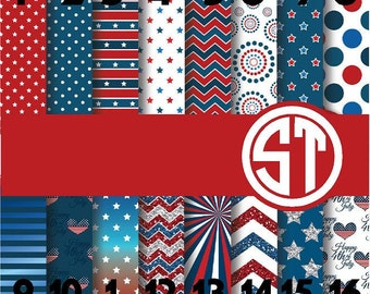 Red White and Blue patterns printed vinyl or heat transfer vinyl (iron on) Y0u choose 6x6,, 8.5x11, 12x12, 12x24 or 12x36