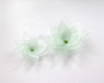2 Light Green Organza Flowers Embellishment
