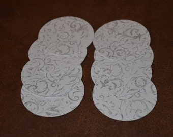 Set of 25 Handstamped White and Stone Diecuts