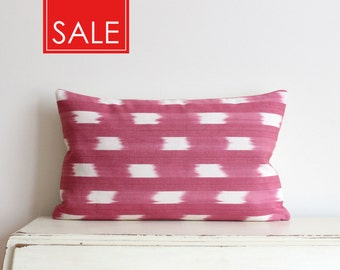 """SALE - Pink and cream ikat pillow cushion cover 12"""" x 20"""""""