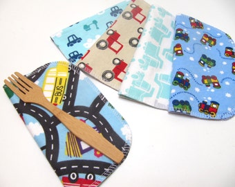 Cloth Napkins, 5 Boys Vehicle Napkins, Eco-Friendly Napkin, Car and Truck Napkins, Back To School