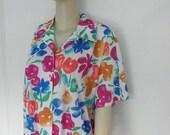 "30% OFF 1970's ""Vera"" Neumann Vintage  Multi Floral Print Dolman Sleeve V-Neck Blouse, Pull Over, Elastic Waist, NWT"