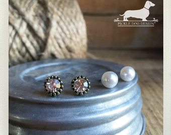 Classic Duo. Post Earring Set -- (Rustic, White Pearl, Gem, Antiqued Brass, Simple, Classic, Small, Round, Circle Studs, Tiny, Set of 2)